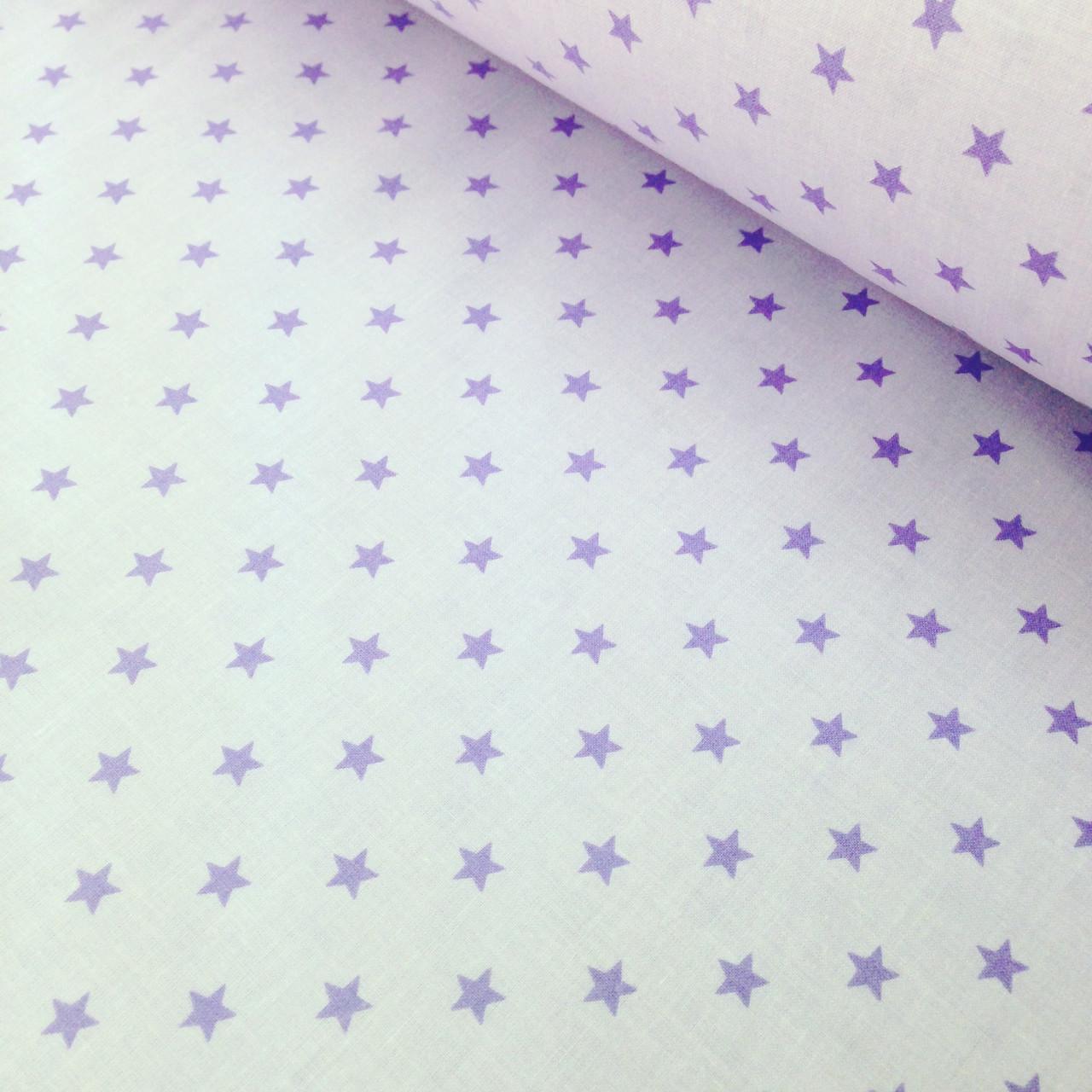 Хлопковая ткань польская фиолетовые звезды на светло-фиолетовом