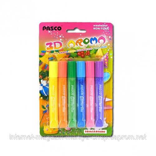 Клей с блёстками 10 мл «Pasco» 6 цветов, ароматизированный