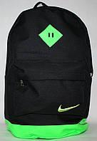 Спортивный городской рюкзак Nike с кожаным дном черный салатовый