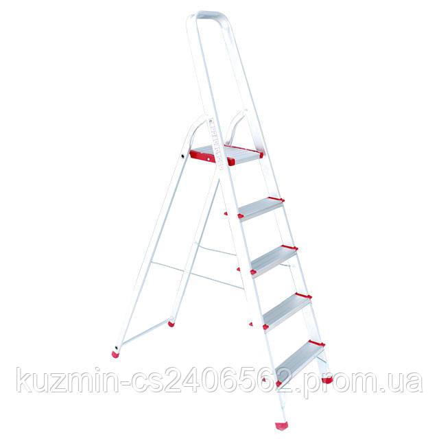 Лестница-стремянка алюминиевая 5 ступеней. высота до платформы 1065мм INTERTOOL LT-1005