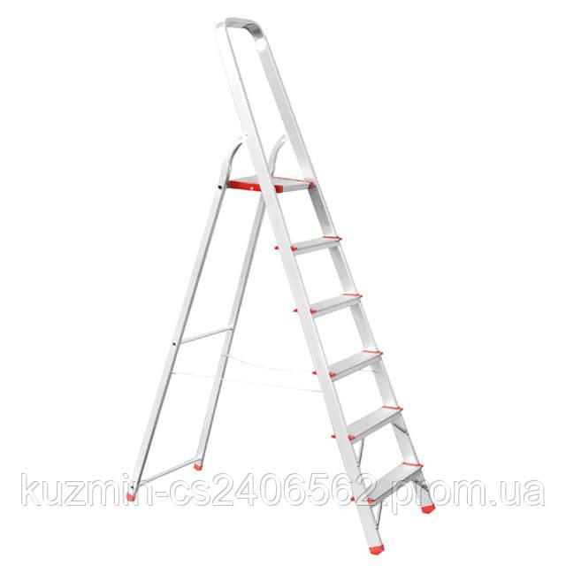 Лестница-стремянка алюминиевая 6 ступеней. высота до платформы 1280мм INTERTOOL LT-1006