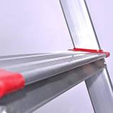 Лестница-стремянка алюминиевая 6 ступеней. высота до платформы 1280мм INTERTOOL LT-1006, фото 4