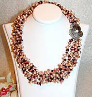 Яркое Ожерелье из Жемчуга, Граната и Розового Кварца