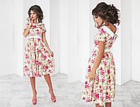 Летнее платье из коттона с воротничком с принтом «Цветы» 4 цвета