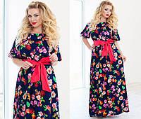 Платье больших размеров из шифона с цветочным принтом 2 цвета