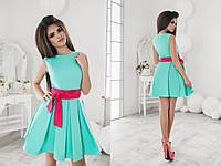 Летнее платье с клеш юбкой и поясом 3 цвета