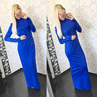 Женское платье длинное из трикотажа под горло