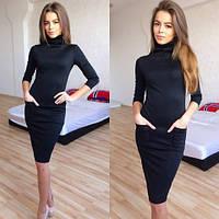 Женское трикотажное платье футляр миди с карманами