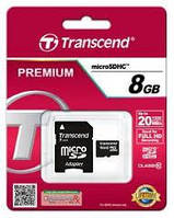 Карта памяти microSDHC Transcend 8 GB class 10 (+SD адаптер)