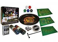 Мини-казино с рулеткой 5 в 1 IG-4393 (100 фишек с номиналом,1 кол. карт,4 куб.,лопатка,полотно)