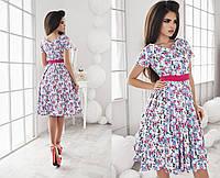 Молодежное платье из коттона с цветочным принтом 3 цвета