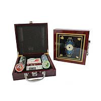 Покерный набор в дерев. кейсе-100 IG-6641 (100фишек с номинал,2 кол.карт,5куб,р-р кейса 20x21x6,5см)