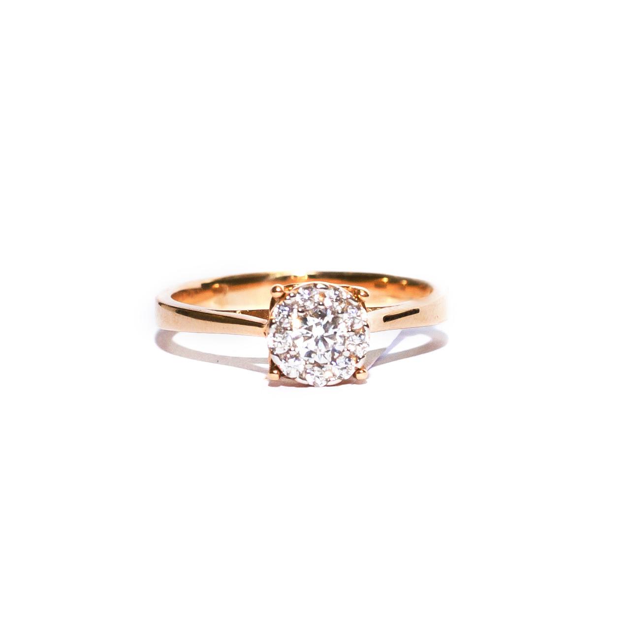 Золотое кольцо с цирконием,р 17