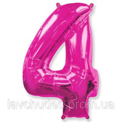 """Фольгированная розовая цифра """"4"""" 100 см."""