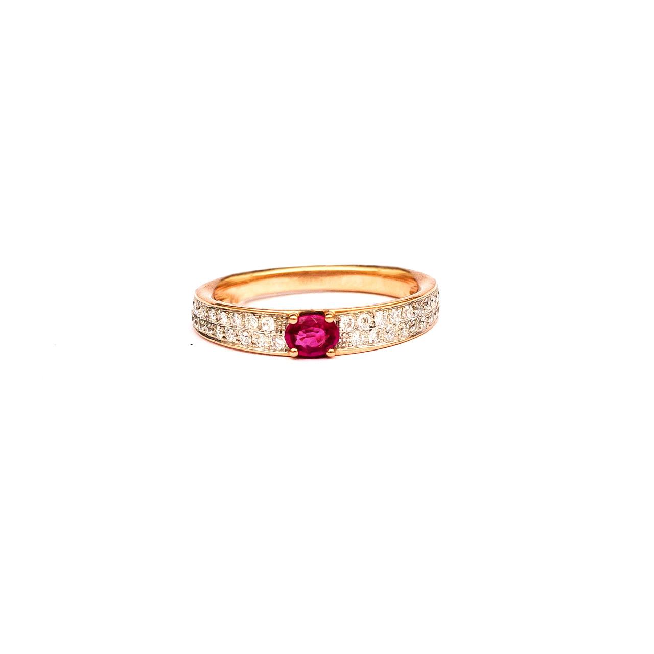 Золотое кольцо с рубином и бриллиантами, р16.5