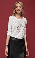 Женская блуза из вискозы молочного цвета с абстрактным принтом, рукав три четверти. Модель Colby Zaps.
