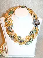 Яркое Ожерелье из Натурального Цитрина, Розового Жемчуга и пурпурного Флюорита