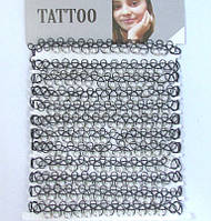 Тату Чокер на шею черный с белыми бусинами Tatoo Choker 12 шт/уп