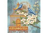 """Схема для вышивки бисером """"Синие птицы в жасмине"""""""