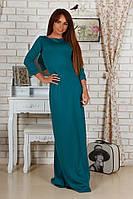 Элегантное зеленое платье в пол с гипюровой спиной