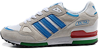 Мужские кроссовки Adidas ZX 750 White Light Blue (Адидас) cерые