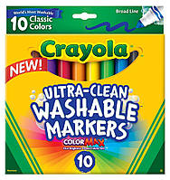 Фломастеры ultra lean Washable (на водной основе) толстые, 10 цветов, Crayola (Крайола)