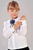 Школьная белая классическая блуза для девочки
