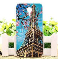 Чехол силиконовый бампер для Meizu M2 Note с рисунком Эйфелева башня, фото 1