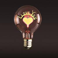 Лампа Эдисона  I LOVE YOU неоновая (special series), фото 1