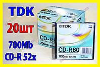 Диски TDK Япония CD-R 20шт 700M 52x тонкая коробка, фото 1