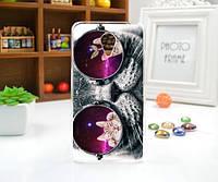 Бампер силиконовый чехол для Meizu M2 Note с рисунком Кот в очках