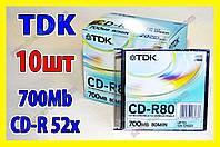 Диски TDK Япония CD-R 10шт 700M 52x тонкая коробка, фото 1