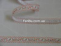 """Лента с рисунком """"тюльпаны"""",цвет персиковый(ширина 2.7 см)"""