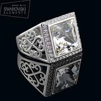 011-0001 - Эффектный перстень с кристаллом Swarovski Classic Square Crystal родий, 18.5, 19