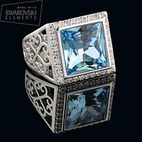 011-0002 - Эффектный перстень с кристаллом Swarovski Classic Square Crystal Aquamarine родий, 19 р.