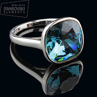 011-0004 - Кольцо с кристаллом Swarovski Cushion Square Crystal Indicolite родий, 16.5 р.