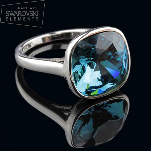 011-0004 - Кольцо с кристаллом Swarovski Cushion Square Crystal Indicolite родий, 16.5 р. - Kelta - ювелирная бижутерия оптом в Львове