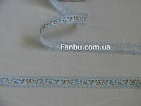 """Лента с рисунком """"тюльпаны"""",цвет голубой(ширина 2.7 см)"""