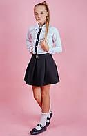 Белая школьная блуза с синей полоской