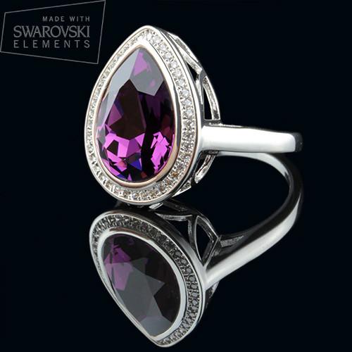 011-0010 - Перстень с каплевидным Swarovski Drop Crystal Amethyst родий, 16.5, 17.5, 18 р - Kelta - ювелирная бижутерия оптом в Львове
