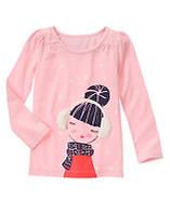 Розовый реглан с аппликацией и стразами на девочку 8, 10 лет Bundled Girl Gymboree (США)