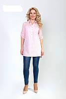 Модная женская блуза-туника розового цвета