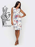 Женские стильные платья в модный принт без рукавов Лия-1