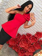 Костюм красная баска с бантом на плече+черная юбка-карандаш
