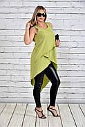 Женская красивая туника 0314 цвет зеленый до 74 размера, фото 2