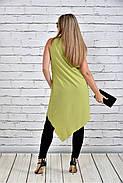 Женская красивая туника 0314 цвет зеленый до 74 размера, фото 4