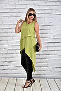 Женская красивая туника 0314 цвет зеленый до 74 размера, фото 3