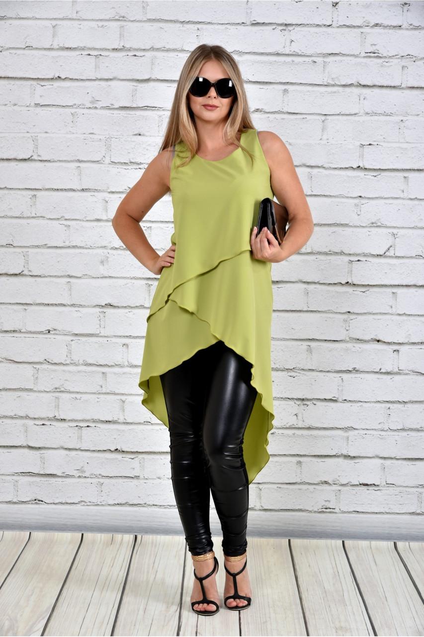 Женская красивая туника 0314 цвет зеленый до 74 размера