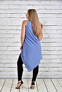 Женская красивая туника 0314 цвет голубой до 74 размера, фото 4
