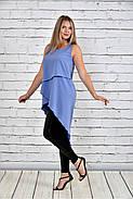 Женская красивая туника 0314 цвет голубой до 74 размера, фото 2